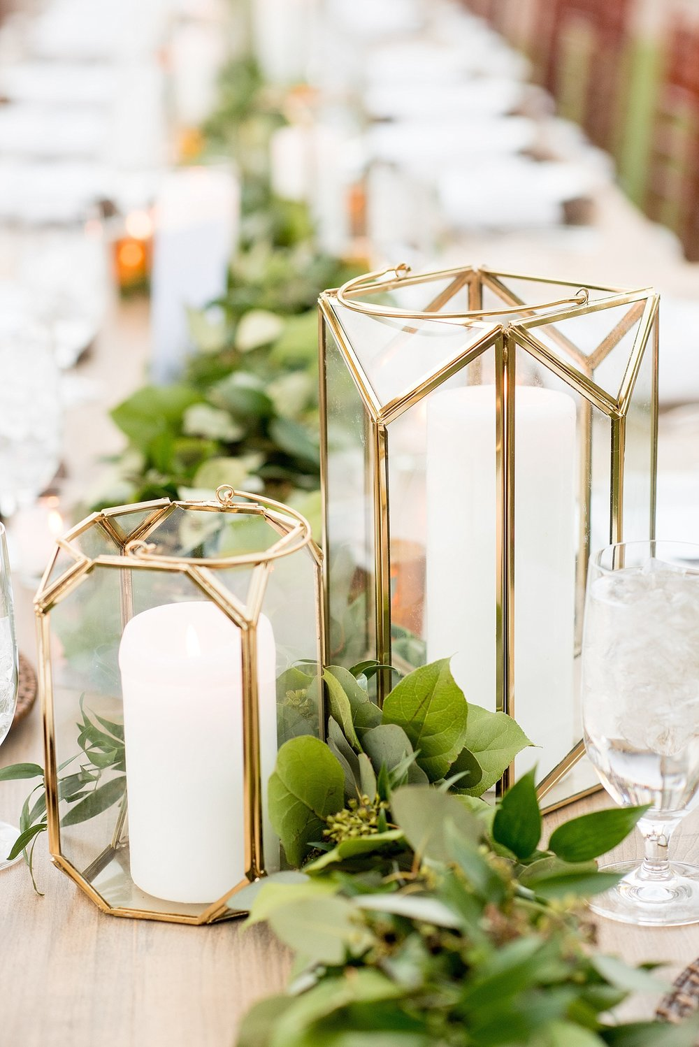 Lanterns and Garland on Cottage Luxe Farm Table