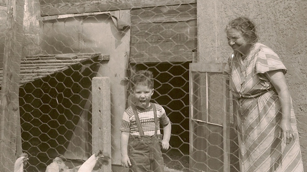 My Grandmother and My Brother In The Backyard Of Beach 15th Street.  Apx 1951.  Yes- She Had A Chicken Coop!