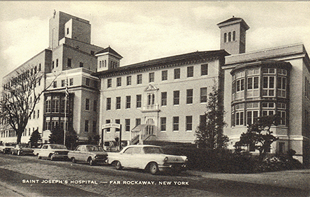 St. Joseph's Hospital Apx. 1965      Photo courtesy of the   Leiman Library     and The Leiman Collection on   Rockawaymemories.com