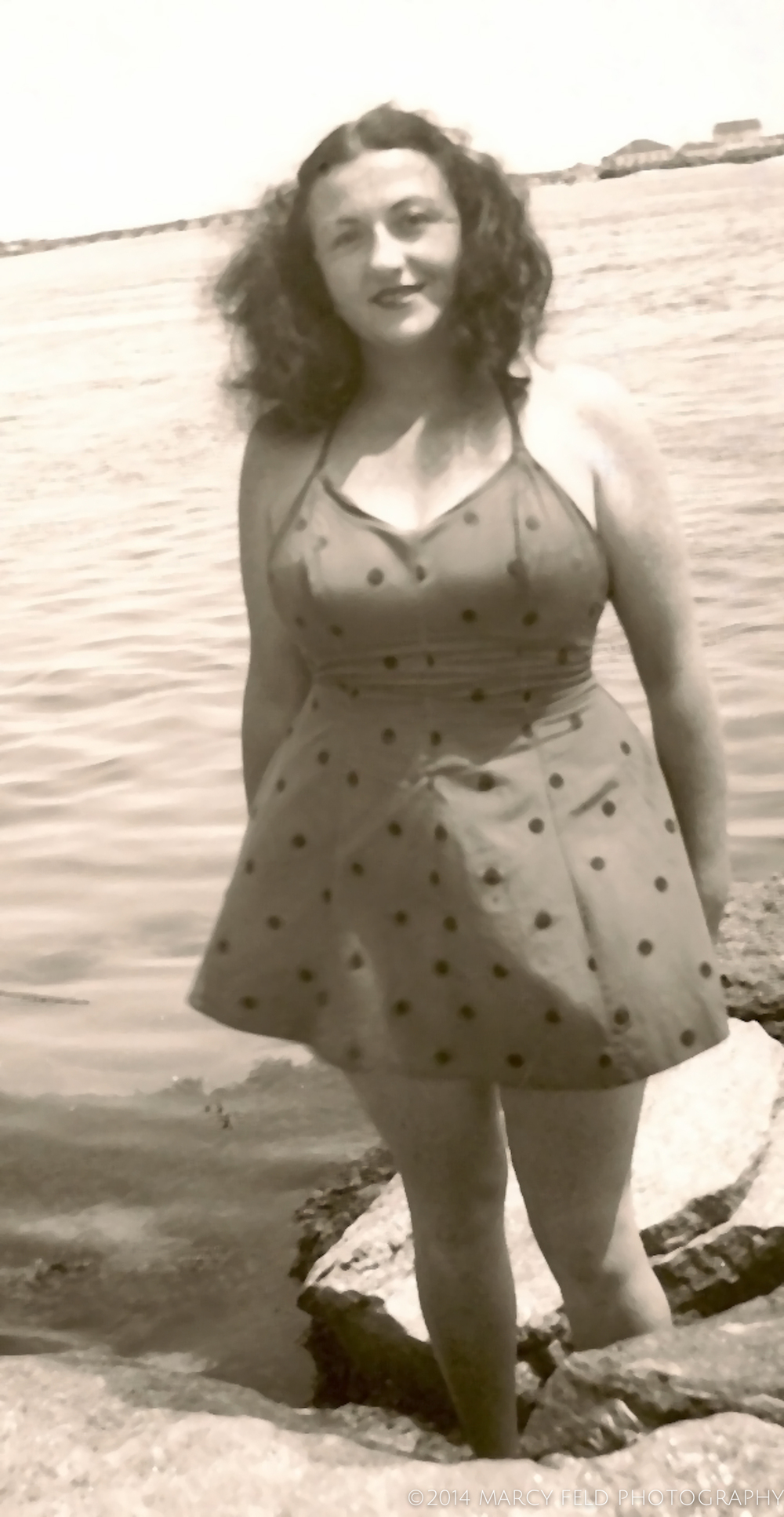 An image of my mother at the beach - perhaps from sometime in the 1940's.  I originally thought it was in Edgemere, but when I actually looked closely, I think it is in Far Rockaway with the Atlantic Beach Bridge in the background
