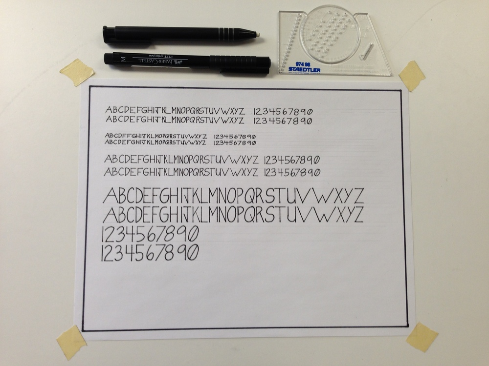 Faber-castell ink pen, eraser pen, Ames lettering guide, bond and drafting tape. Hand lettering can be a surprisingly therapeutic exercise for architects, landscape architects, and interior designers.