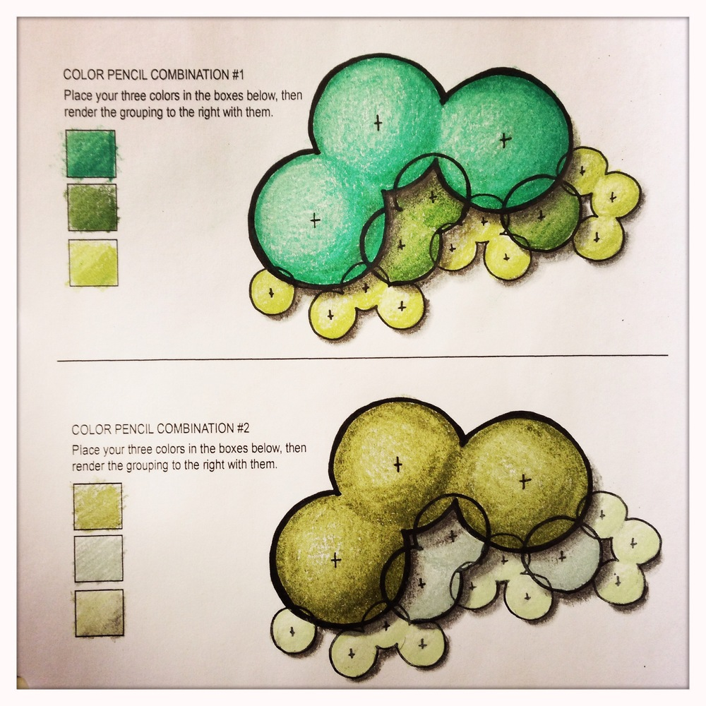 Color rendering by hand with colored pencils.