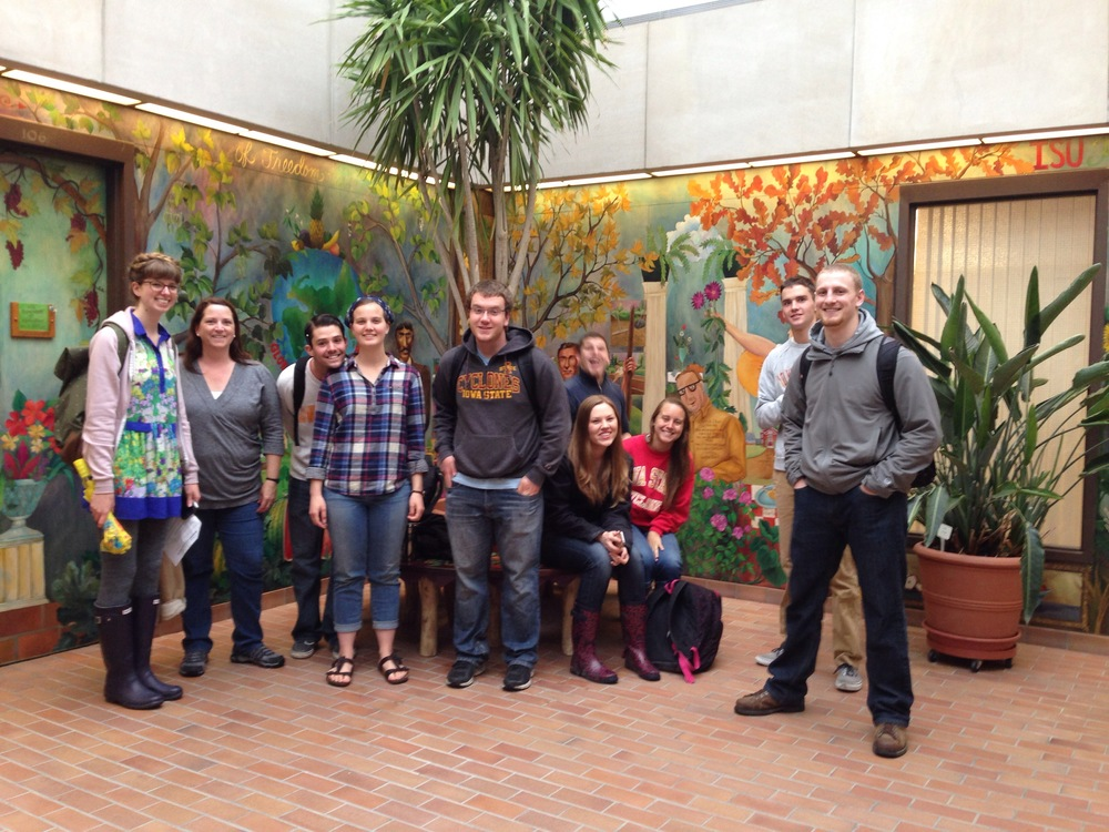 My classmates after a design scavenger hunt we had on campus grounds. Photo taken April 2014 at the Horticulture Hall entrance lobby with its beautiful wall murals. From left to right, Caitlin, Cris, Jake, Laura, Chris, Ryan, Claire, Katrina, Andrew and Mike.