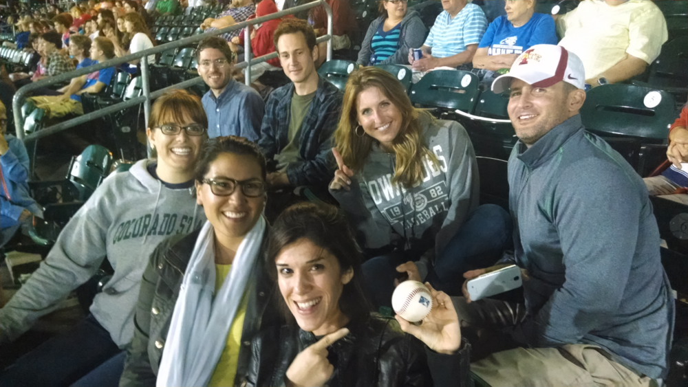 First time catching a foul ball. Iowa cubs baseball office outing with the fabulous Summer 2014 Genus design team. From left to right, Paige, Dylan, Paola, Paul, Alejandra, and Amanda.