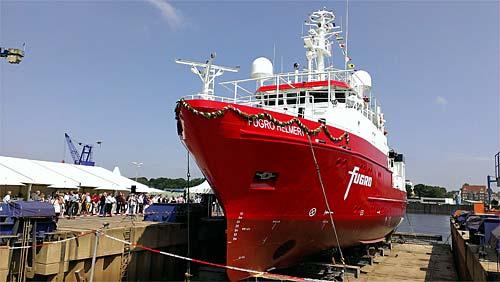 Das Peil- und Vermessungsschiff MV FUGRO HELMERT, gebaut von der Fassmer-Werft.