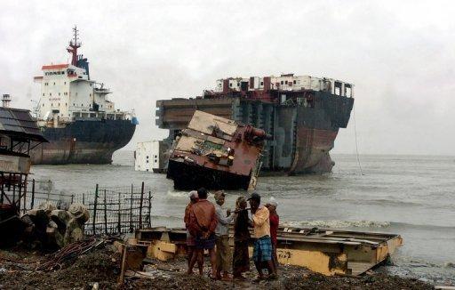 A shipbreaking yard in Bangladesh.