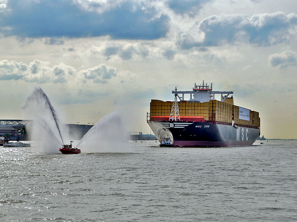 MSC ZOE in the Port of the Free and Hanseatic City of Hamburg.