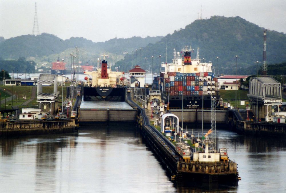 Miraflores locks at the Panama Canal, photo courtesy of Stan Shebs.