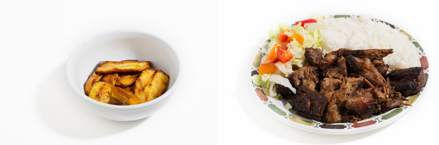 Left: Fried Plantain - alI can say is yum! I love plantain! It is fried lighting in oil and then served.  Right: Jerk Pork with plain rice - this is a slightly spicy, amazing dish. If you want it hotter all you have to do is ask! The cooks are amazing at spicy dishes!