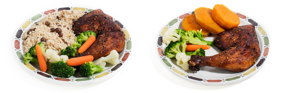 Left: Jerk chicken with rice and peas and steamed vegetables. Rice and peas are the main side dish items usually come with, but you can always sub in something else for them.  Right: Jerk chicken with steamed vegetables and sweet potato. Also, very tasty!
