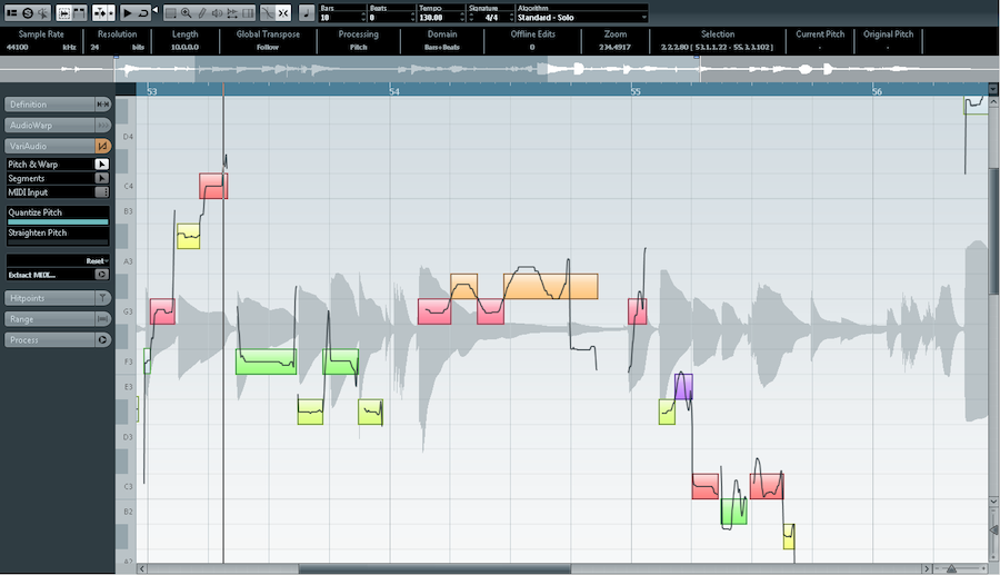 Cubase's Vari Audio Vocal editing