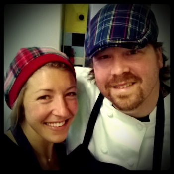 Nick & Birdie cooking in Scotland for their friends wedding week.  June 2013