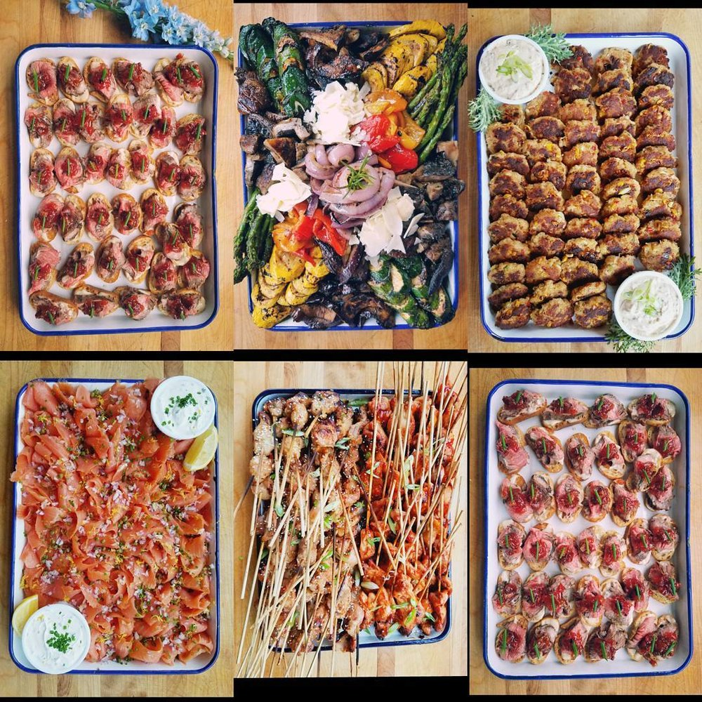 Flank Steak Crostini. Grilled Veggies. Skillet Crab Cakes. Smoked Salmon. Chicken Skewers (Asian + BBQ). Flank Steak Crostini.