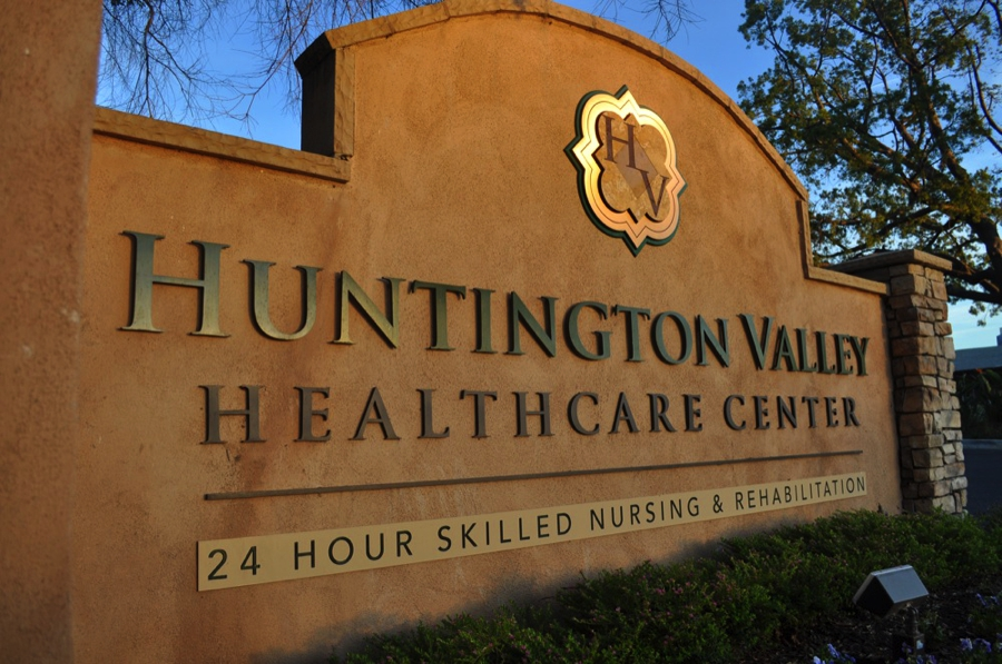 Close up of Huntington Valley Healthcare Center Signage
