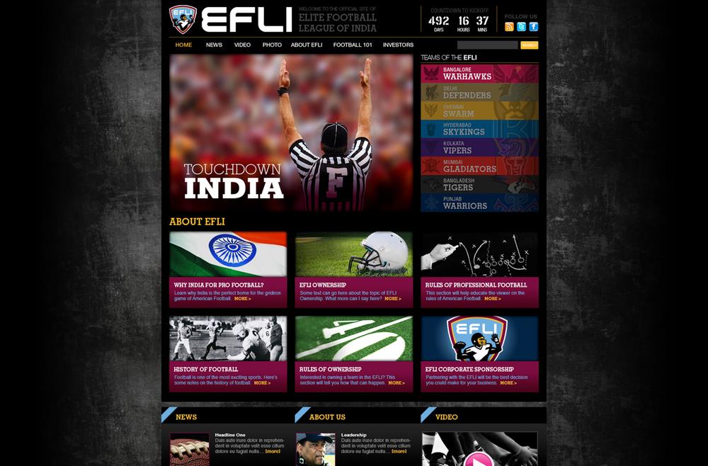 Elite Football League of India - League Launch Website
