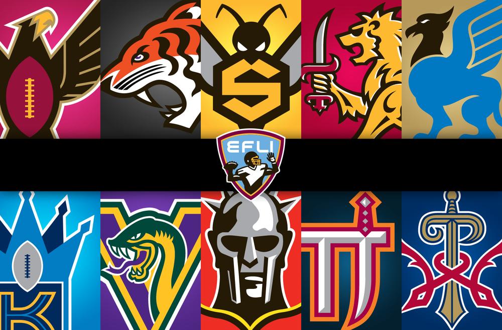 Elite Football League of India - Inaugural Season Team Logo Designs