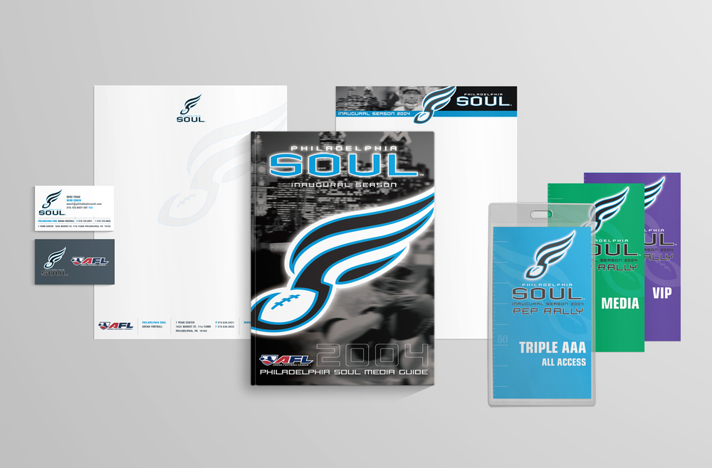 Philadelphia Soul Team Identity - Corporate Collateral - Business Cards, Letterheads, All Access Passes
