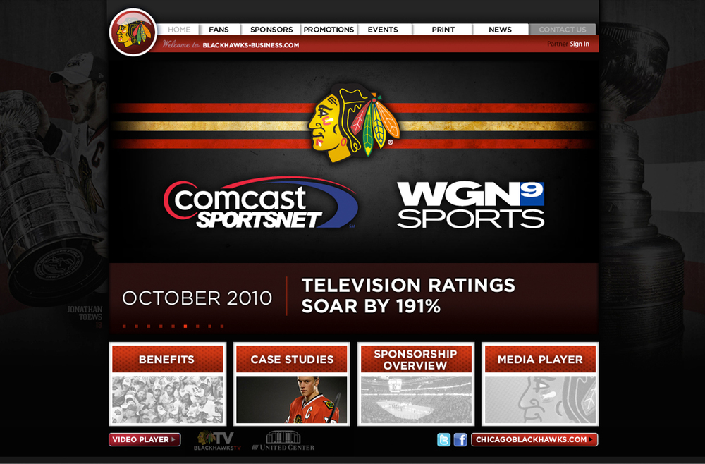 Chicago Blackhawks Business Web Design