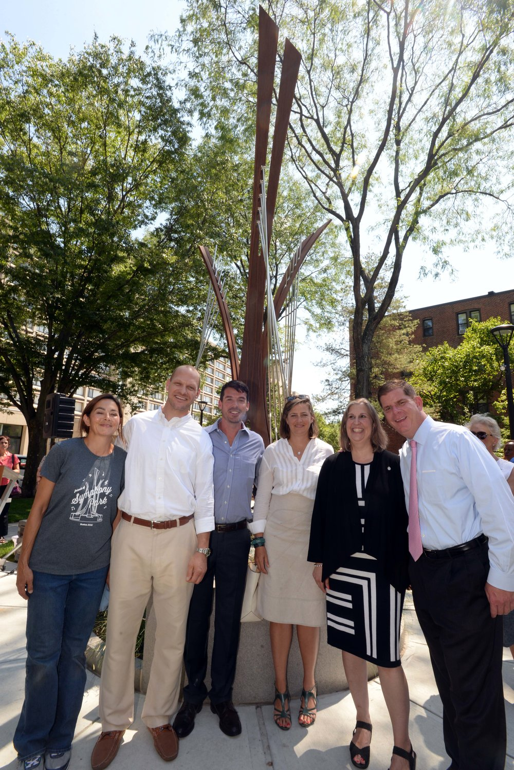 Marie Fukuda, Jacob Kulin, Jon Pate, Karen Euler, Julie Burros, and Mayor Marty Walsh
