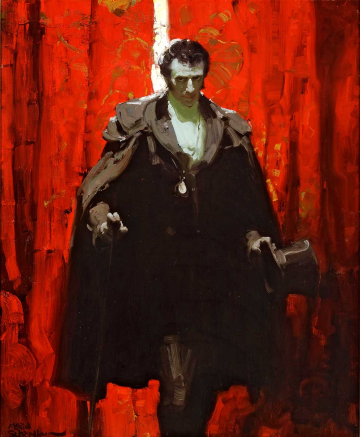 4  )  Mead Schaeffer (1898-1980),  The Count of Monte Cristo , 1928, Illustration for  The Count of Monte Cristo  by Alexandre Dumas, Dodd Mead & Company, NY, 1928, Oil on canvas, The Kelly Collection of American Illustration Art.