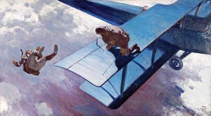 "5 )  Harold Von Schmidt (1893-1982), Wing Walkers, 1929, Story illustration for ""Lovers Leap"" by Laurence Stallings in Liberty Magazine, April 6, 1929, Oil on canvas, The Kelly Collection of American Illustration Art."