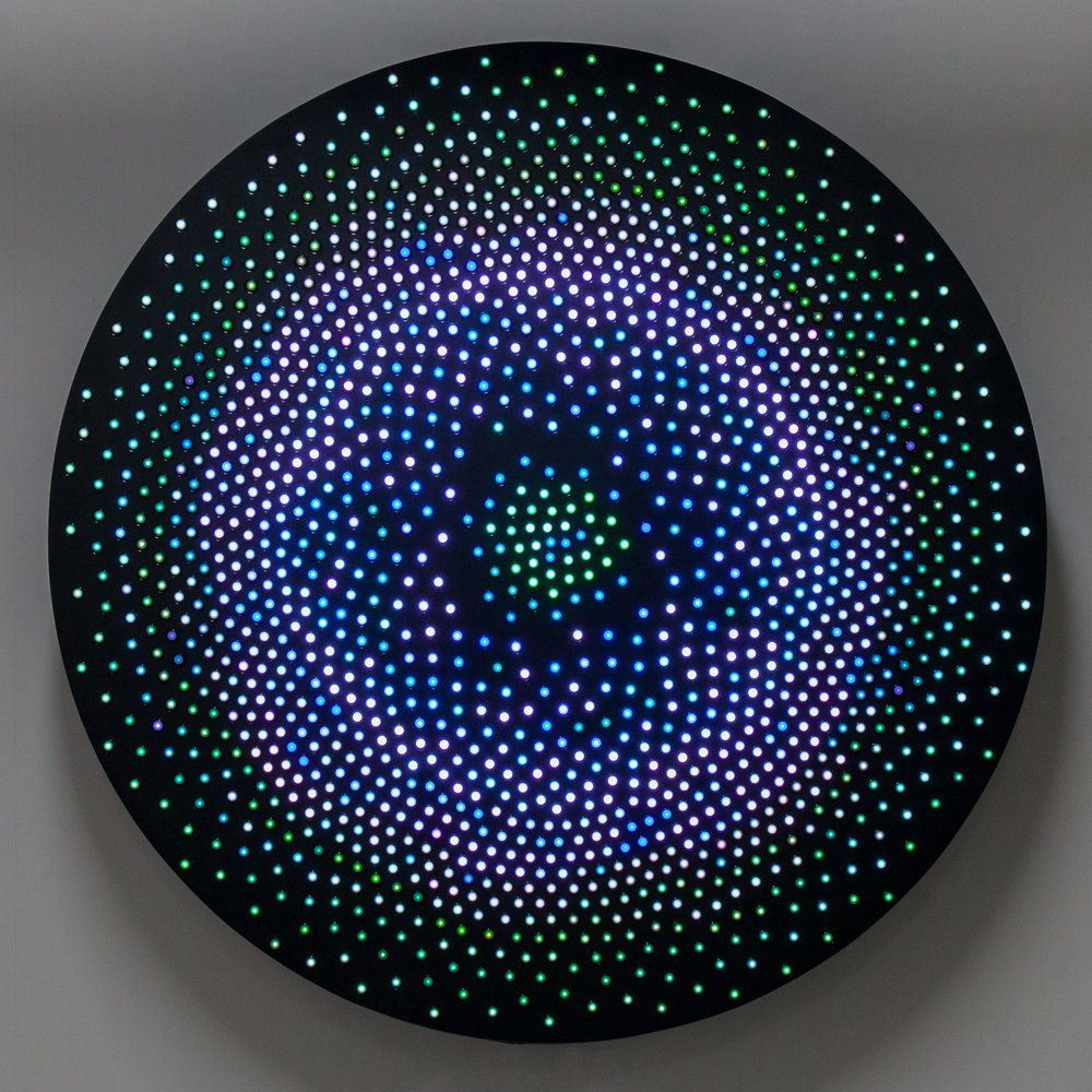 IMAGE DETAIL: Leo Villareal,  Big Bang , 2008, 1,600 LEDs, Mac mini, microcontroller, custom electronics, anodized aluminum. © Leo Villareal, courtesy of the Carl & Marilynn Thoma Art Foundation, photo by Joseph Rynkiewicz.