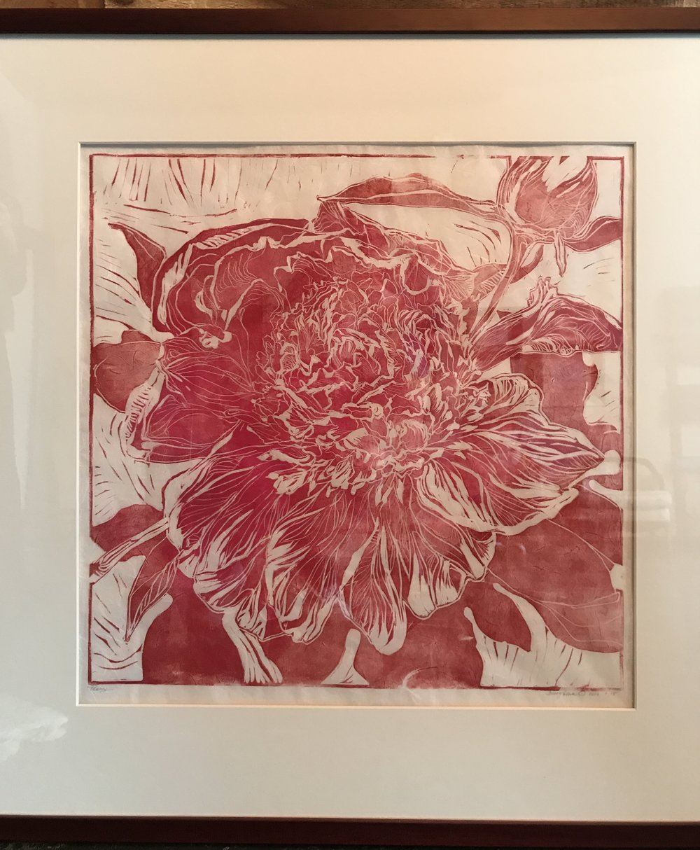 "Item #146    Elina Burykina    Peony   Hand Pulled Print on Unryu Paper, 18 x 18       Romanova Art – Chattanooga, TN   Opening Bid $525    Minimum Raise $25       Elena Burykina  was born in Ulan-Ude, a city in the Russian Far East, in 1977. Her family later moved to Ukraine where she received professional training in art and architecture. She completed art school in the city of Dnipropetrovsk, and received a bachelor's degree and degree in architecture from the Prydniprovska State Academy of Civil Engineering and Architecture in 2000. Elena's undergraduate and graduate training in architecture included classical training in drawing and painting. After a 15-year career as an architect, she turned her full attention to painting in 2012.     ""My thoughts and emotions come to life on the canvas as realistic images and abstract forms, and style of work depends on the theme, genre, and emotional presence. ""  Elena's works are in Russia, Ukraine, Germany, Spain, Serbia, and the USA."