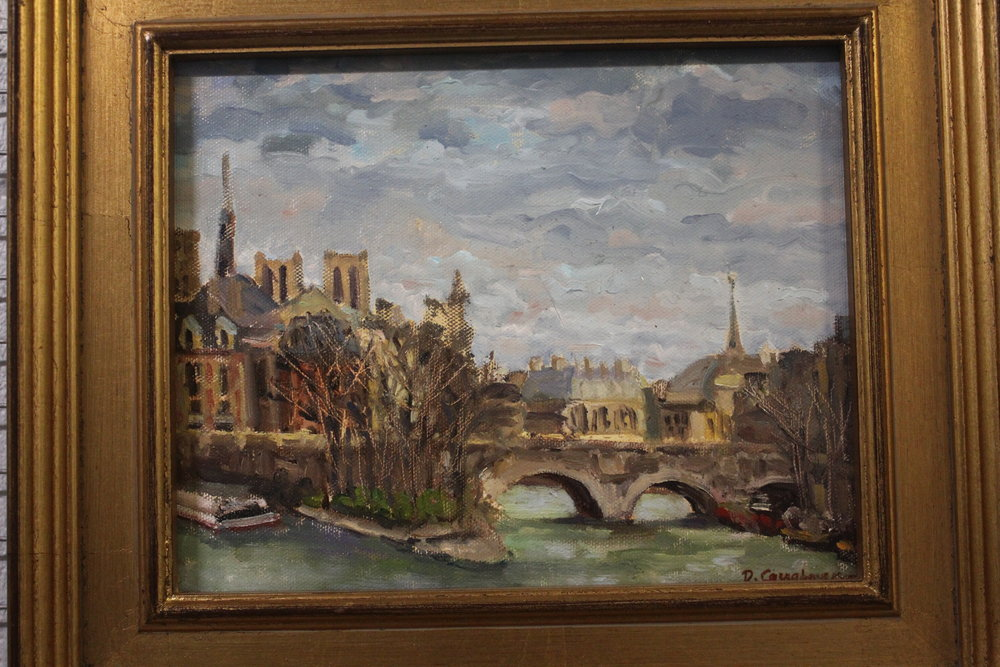 Item #112    Dede Caughman    Ile de la cite (France)   Oil on Canvas, 8 x 10       Allison Sprock Fine Art – Charlotte, NC   Opening Bid $500    Minimum Raise $25         Dede Caughman  can find beauty in a variety of everyday things. In addition to studying under the Chatovs, she also studied at the University of North Carolina at Greensboro, the Penland School of Arts and Crafts, and at the Corcoran Museum.