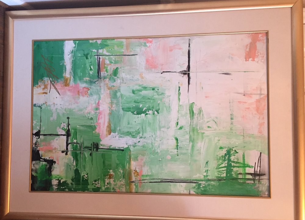 Item# 118    Lauren Reddick    Spring Greens   Mixed Media, 40 x 54       Art House Charlotte – Charlotte, NC   Opening Bid $1100    Minimum Raise $25