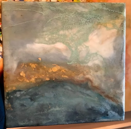 Item #121   Lynne Miller    Tourquois Abstract Mini   Encaustic, 8 x 8       Art House Charlotte – Charlotte, NC   Opening Bid $100    Minimum Raise $10