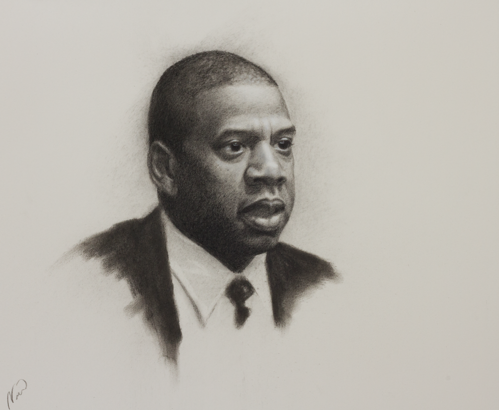 "Item #128    Norman Davis    Jay-Z   Charcoal on Paper, 12 x 13     River Gallery – Chattanooga, TN   Opening Bid $450    Minimum Raise $25         Norman Davis   The title ""Jay-Z"" references the subject of the portrait and is significant as a pivotal piece in Norman Davis' artistic career. He said this piece is the benchmark piece for his July 2018 exhibit at River Gallery. The dimensionality this portrait embodies signifies a shift in the artist's technique.     ""Creating artwork which captures the likeness and spirit of a person is my strength. My principle objective is to make original works which merge fine art into our modern-world relevance."""