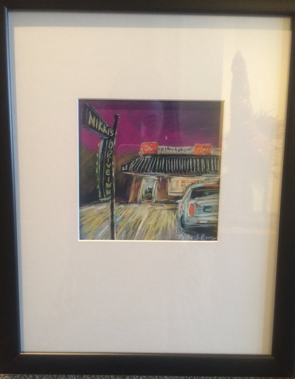 "Item #130    Mike Berry    Nikki's Drive-In   Pastel, 12 x 15       River Gallery – Chattanooga, TN   Opening Bid $220    Minimum Raise $10         Mike C. Berry  is a versatile painter who works in pastels, oils and acrylics. His colorful and vibrant compositions often bending and twisting the cityscape have become his easily identifiable style. With his use of pure color and gestural brushstrokes, Wolf Kahn and other expressionists have heavily influenced his work.     ""My entire artistic style is reminiscent of my own chaotic life and that combined with my fascination of twisted perspectives and dramatic lighting, and sometimes with a sprinkling of nostalgia, lends itself to the use of vivid color and bold bravado brushwork. With each work, I attempt to present fresh perspectives with the use of energized brushwork, and to capture the essence of a particular location or emotion through the exploration of vibrant color."""