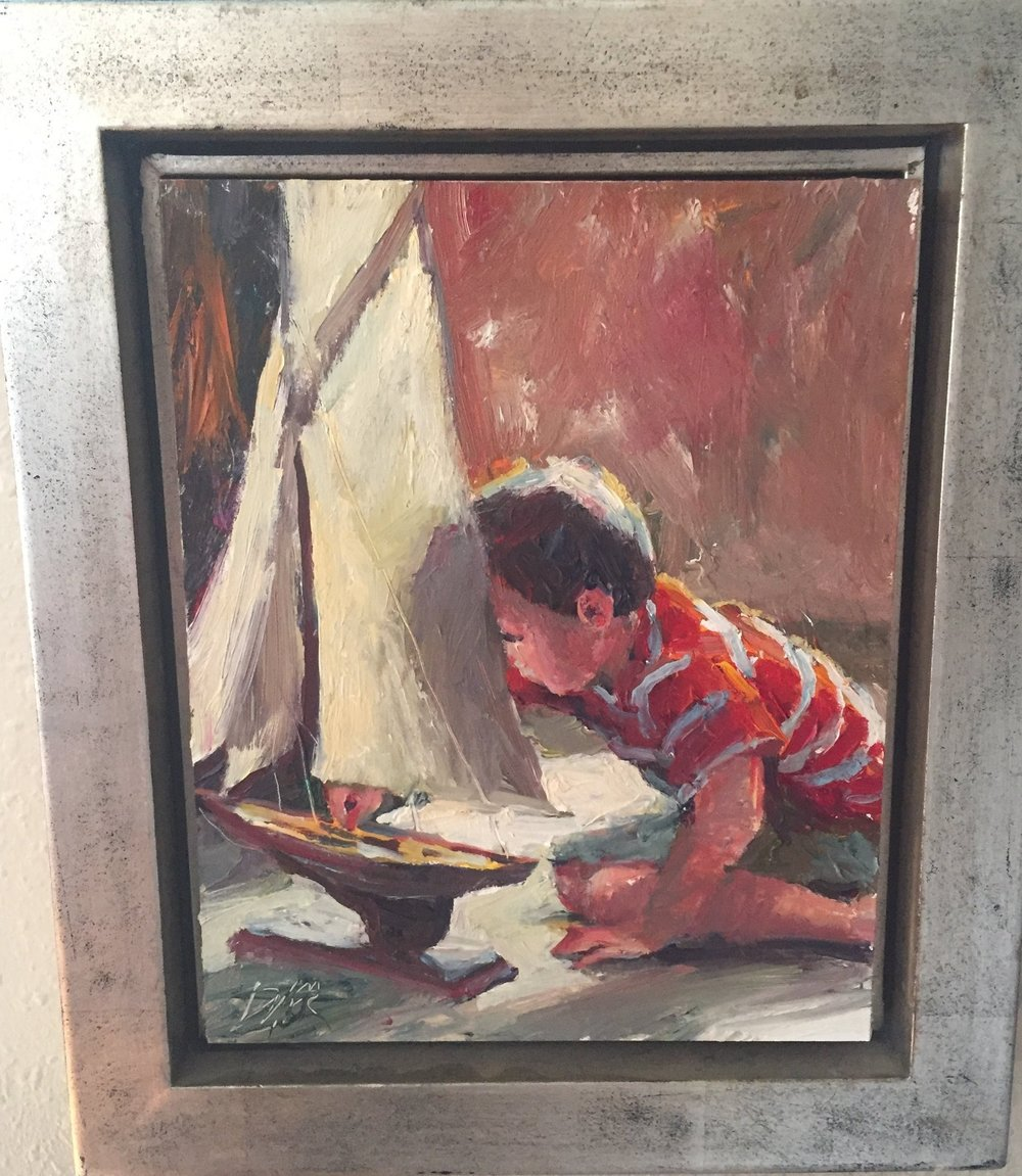 Item #111    Margaret Dyer    Noah's Sailboat   Oil on Canvas, 10 x 8       Allison Sprock Fine Art – Charlotte, NC   Opening Bid $800    Minimum Raise $25         Margaret Dyer  has lived in Atlanta, GA, since her family moved from New York in 1960. She attended the Atlanta College of Art at the High Museum of Art and furthered her studies under painters Roman Chatom, Kate Fetterolf and Jim Richards. A Master Pastelist with the Pastel Society of America, Masters Circle in the International Association of Pastel Societies and award-winner in the American Impressionist Society, Margaret has made her living for over 20 years selling her work and teaching.