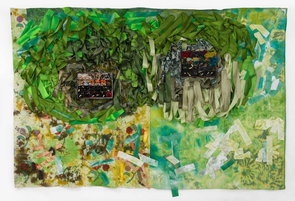 Object Heirloom , 83 x 127 inches, hand-stitched quilts, ribbon, fabric dye, wood, resin, mixed media, 2017, Image courtesu