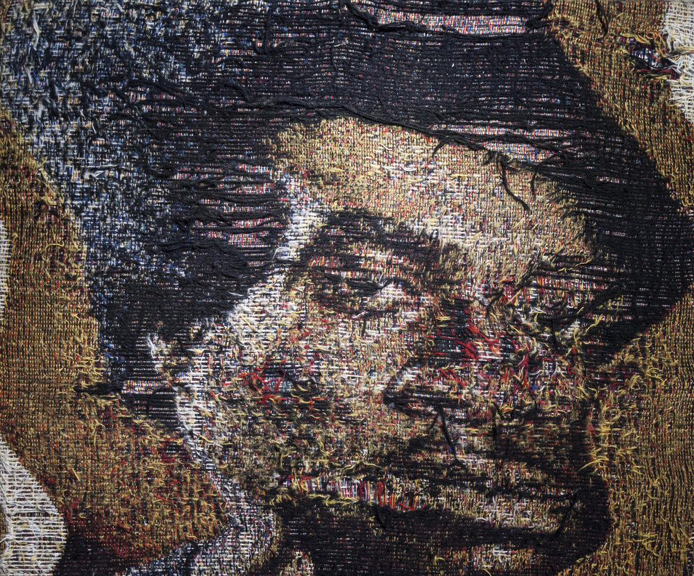 Noel Anderson [b. 1982],  The Sportsman  [detail], custom jacquard tapestries, 5 woven portraits with additions of oil paint, acrylic, fabric, dyes, and collage, 15 x 90 inches, 2016