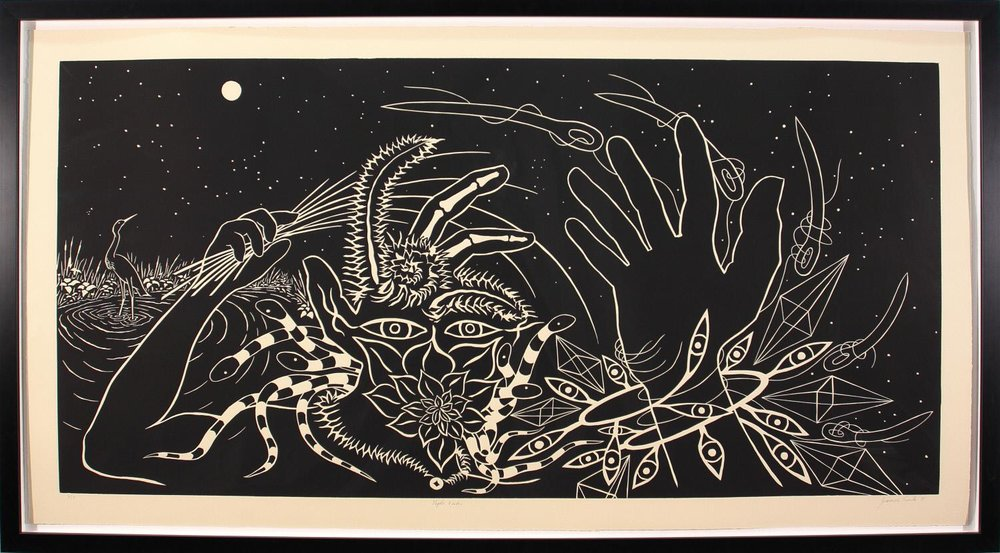 James Surls [b. 1943],  Night Vision , 1991, Linocut, 40 × 66 in., Gift of Nell Johnson Stone