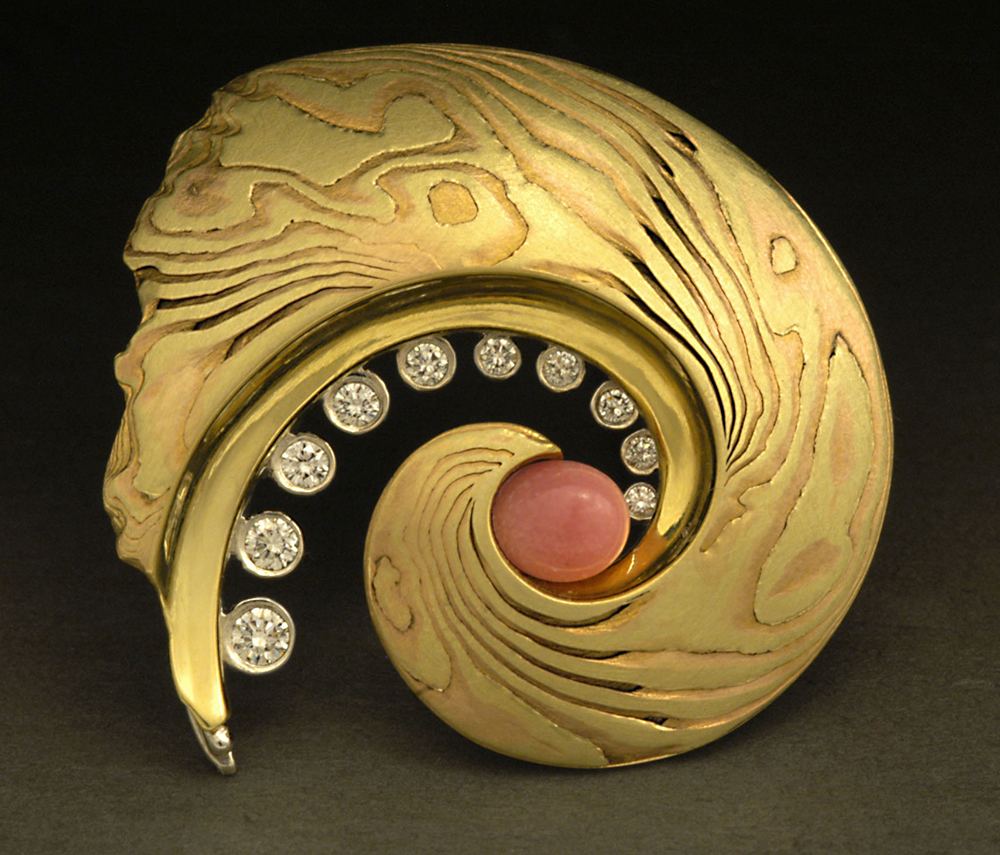 Conch Pearl Brooch - 18K Yellow Gold, Red Gold, 950 Platinum, and Diamonds