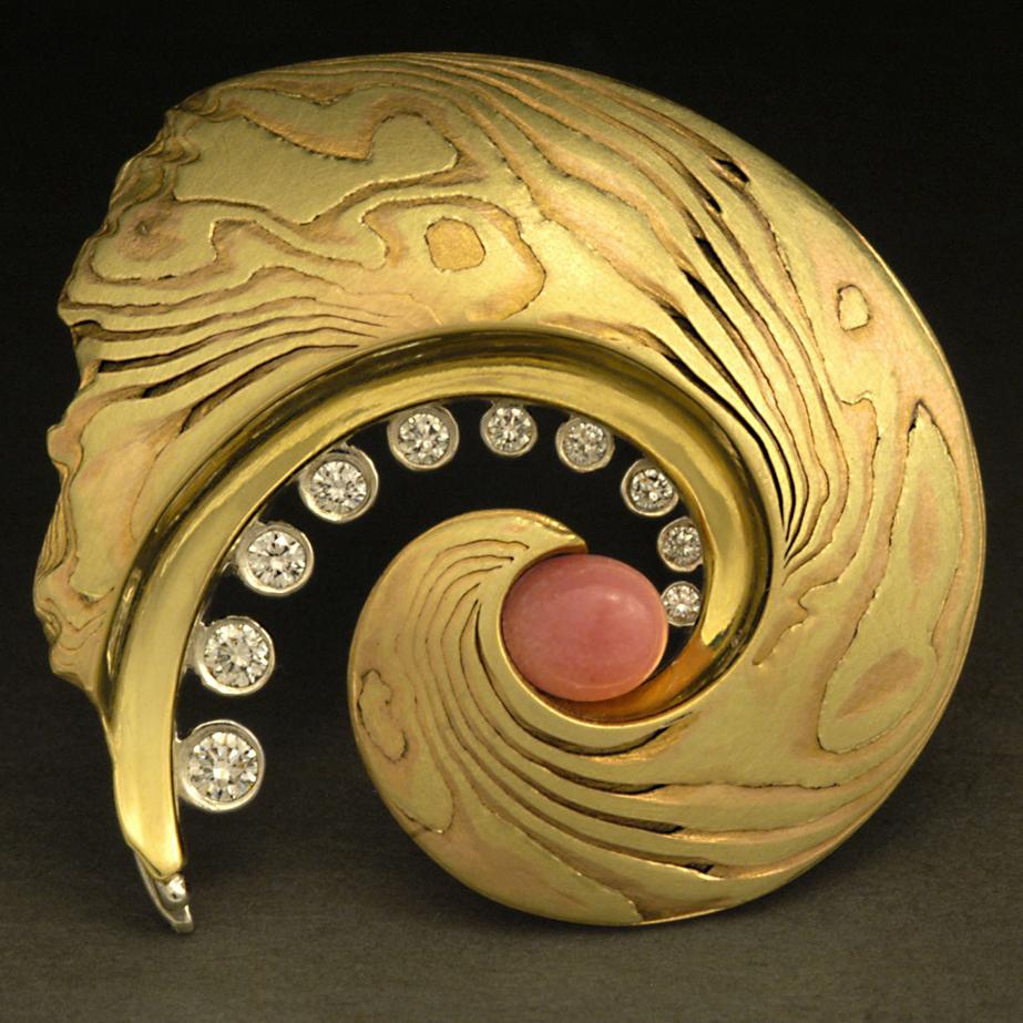 Conch Pearl Brooch by Steve Midgett