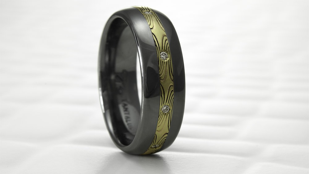 Tantalum and 18K Mokume and diamond men's wedding band prototype.