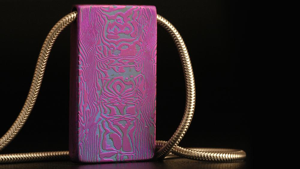 Experimental Titanium and Niobium, Mokume pendant.
