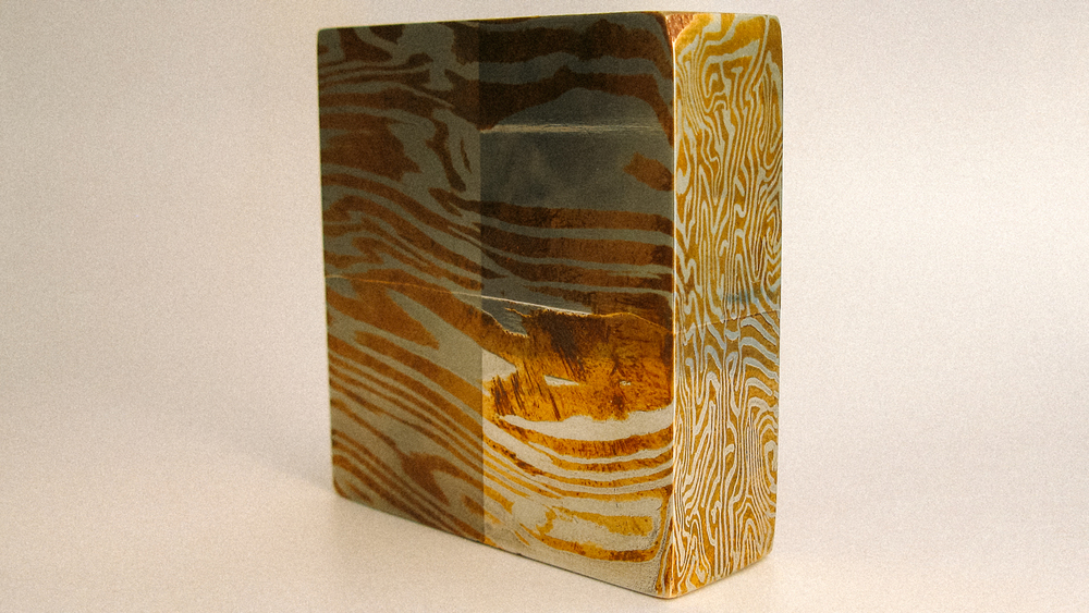 Bronze and Nickel Silver Mokume Gane bar.