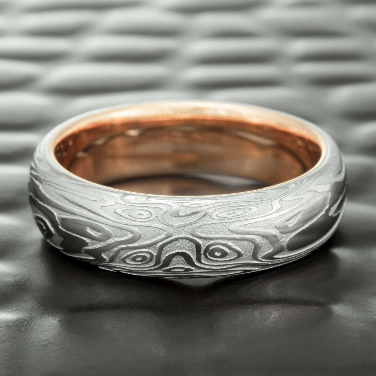 liner add a precious metal liner to any damascus steel or titanium mokume band - Damascus Wedding Ring