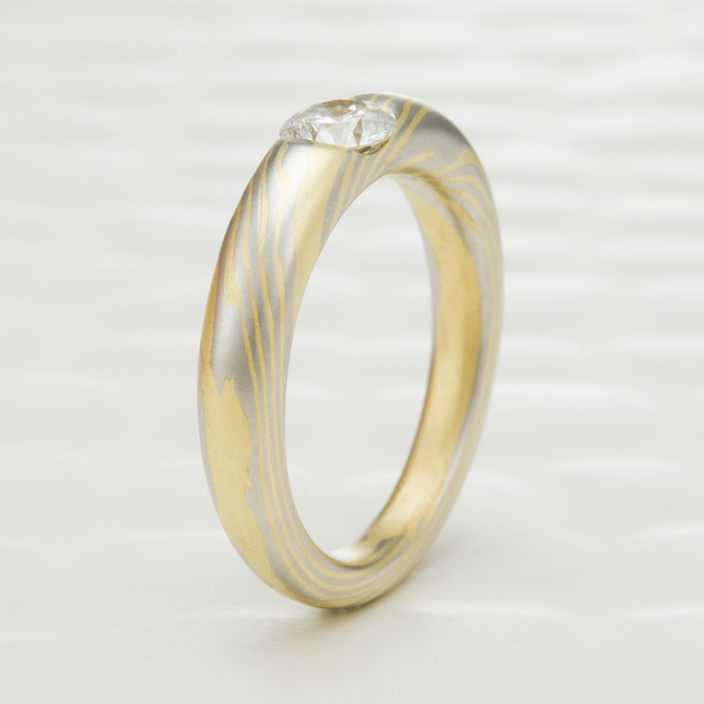 terra platinum and 18k gold diamond mokume engagement ring mokume gane wedding bands TERRA Platinum and 18K Gold Diamond Mokume Engagement Ring