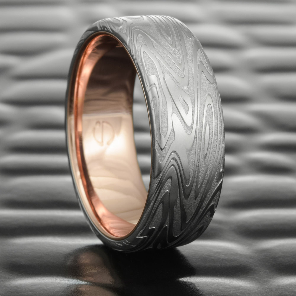ORGANIC WOOD Flat Damascus Steel Wedding Band with 14K Rose Gold