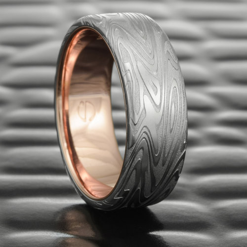 organic wood flat damascus steel wedding band with 14k gold