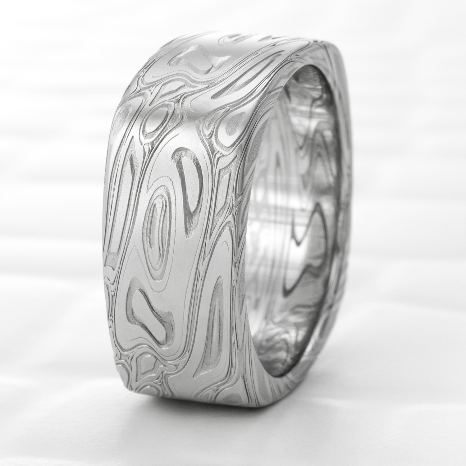 Damascus Steel Square Ring Hand Crafted | TWISTED BURL — Steven Jacob