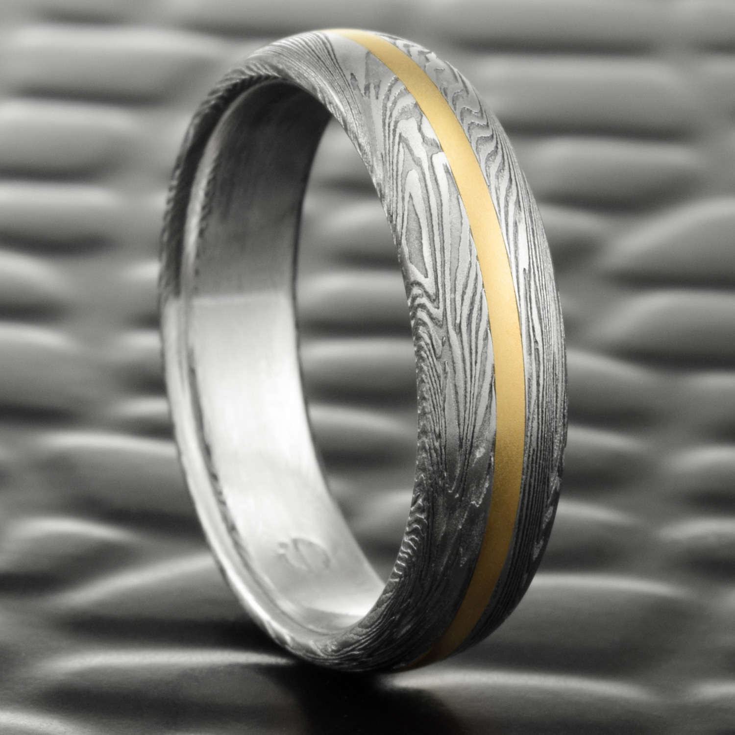 Men S Damascus Steel Wedding Band Domed With 14k Yellow Gold Inlay