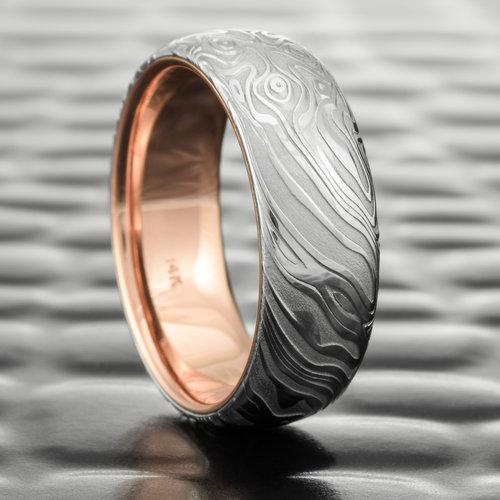 Polished Damascus Steel Wedding Ring Domed For Men With 14k Rose