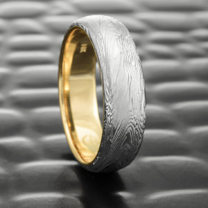 fine wood domed mens woodgrain damascus wedding ring - Damascus Wedding Ring