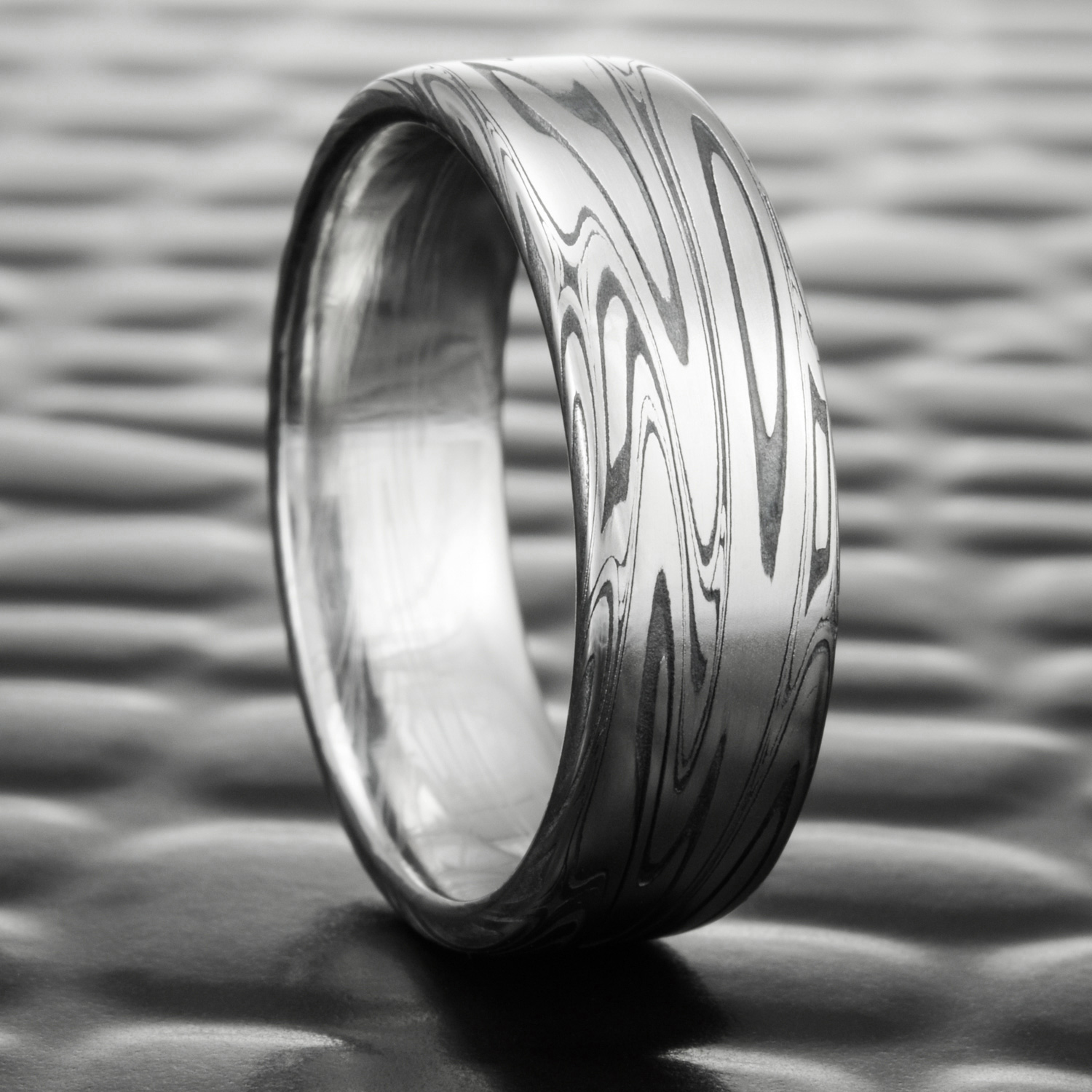 Damascus Steel Wedding Ring Flat with Fire Oxide | SWIRLING CURRENT ...